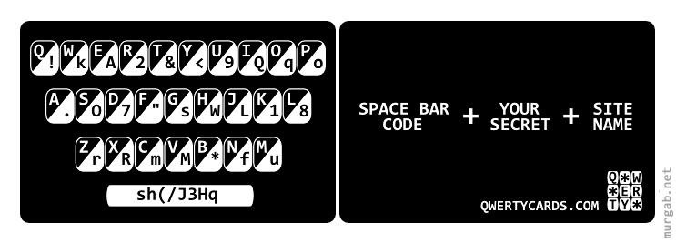 Карточка для упрощенного запоминания паролей
