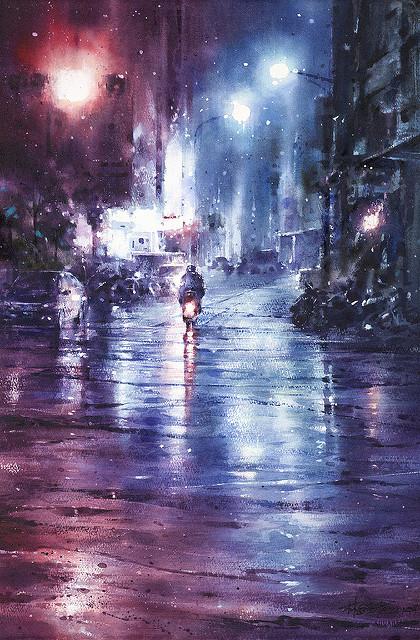 Акварельные «дождливые» рисунки Лина Чинга Че