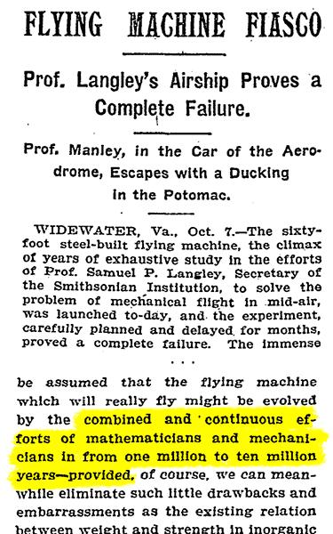 Вырезка из газеты New York Times с прогнозом о полетах