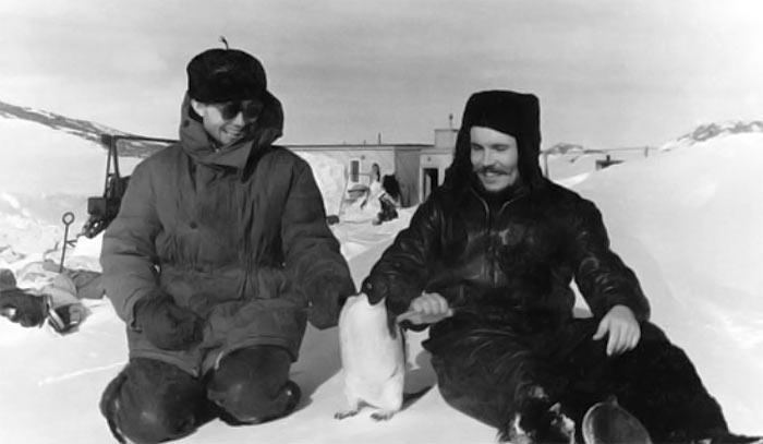 Леонид Рогозов (справа) и пингвин (в центре)