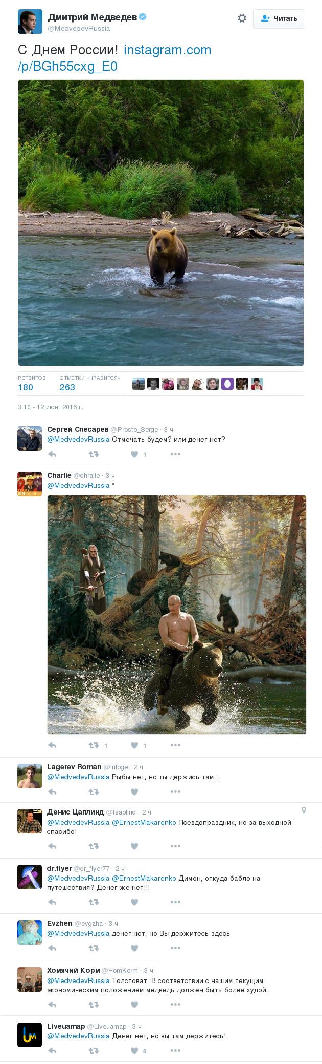 Твиты медведева и комментарии к ним