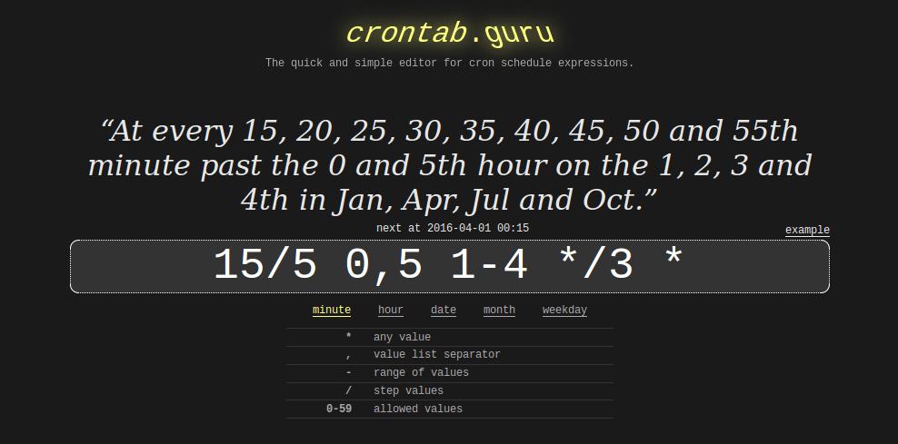 Сервис, расшифровывающий правил в cron-е — crontab.guru