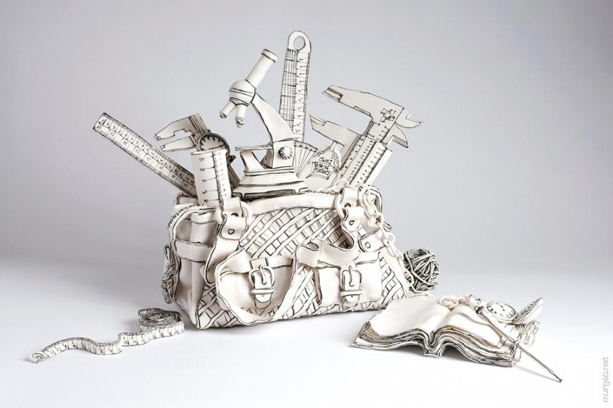 Фарфоровые скульптуры, стилизованные под рисунки