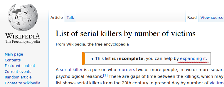 Expanding the list of the serial killers