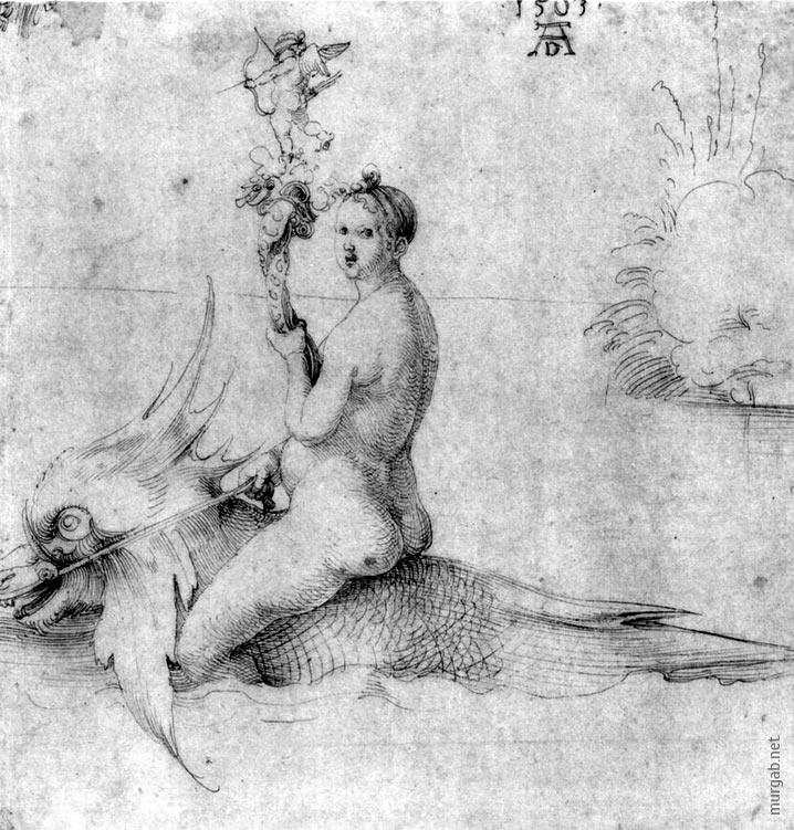 Венера на Дельфине, гравюра Дюрера